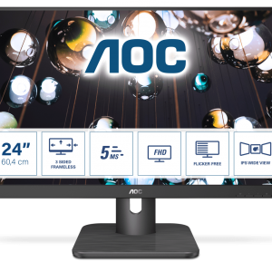 Монитор жидкокристаллический AOC LCD 23.8'' [16:9] 1920х1080(FHD) IPS, nonGLARE, 250cd/m2, H178°/V178°, 1000:1, 20М:1, 16.7M Color, 5ms, VGA, HDMI, DP, Tilt, Audio out, 3Y, Black