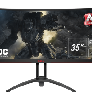 Монитор жидкокристаллический AOC LCD 35'' [21:9] 3440x1440(UWQHD) MVA, Curved, nonGLARE, 300cd/m2, H178°/V178°, 2500:1, 50М:1, 16.7M, 4ms, VGA, DVI, HDMI, DP, USB-Hub, Height adj, Tilt, Swivel, Speakers, 3Y, Black-Red
