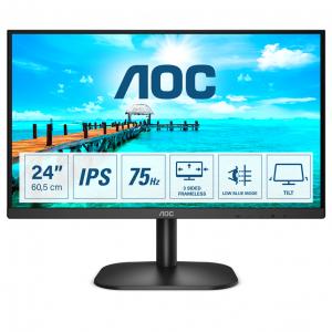 Монитор жидкокристаллический AOCLCD 23.8'' [16:9] 1920х1080(FHD) IPS, nonGLARE, 250cd/m2, H178°/V178°, 1000:1, 20M:1, 16.7M, 4ms, VGA, DVI, HDMI, Tilt, Speakers, 3Y, Black
